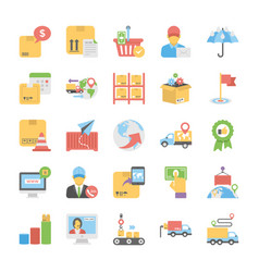pack of logistic delivery flat icons vector image
