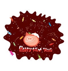 pig in chocolate vector image