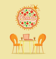 pizzeria restaurant pizza in box with coffee vector image