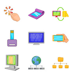 Portable instrument icons set cartoon style vector