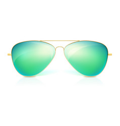Realistic sunglasses classic shape in fine gold vector