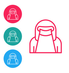 Red line muslim woman in niqab icon isolated vector