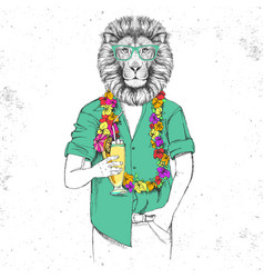 Retro hipster animal lion with tropic cocktail vector