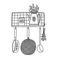 retro kitchen shelf with utensils outline vector image