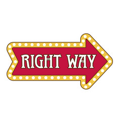 right way pointer isolated icon lamp framing vector image