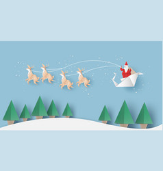 Santa claus reindeer and fir-tree for christmas vector