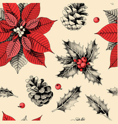 seamless pattern with holly leaves and poinsettia vector image