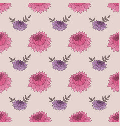 seamless pattern with pink and purple flowers vector image