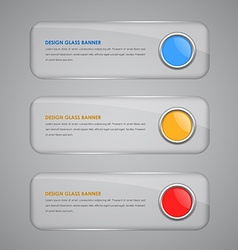set banners with glass button vector image