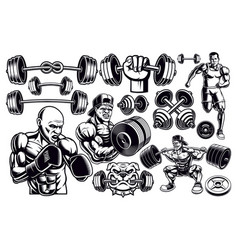 Set black and white design elements for gym vector