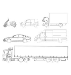 Set cars outline logistics transport side view vector