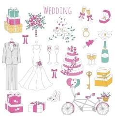 set hand drawn wedding icons vector image