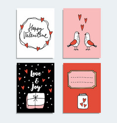 set of cute hand drawn valentines day or wedding vector image