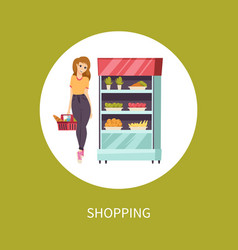 Shopping food woman with basket and meal vector
