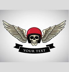 Skull helmet wings logo vintage motorcycle vector