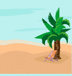 summer rest sunny day deck chairs under palm vector image