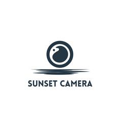 sunset camera logo vector image