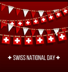 Swiss national day background with hanging flags vector