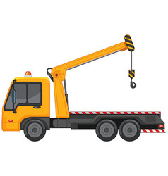 Tow truck with metal hook on white background vector