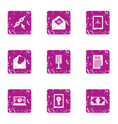 Trading news icons set grunge style vector