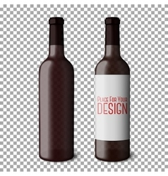 Two transparent blank black realistic bottles for vector image