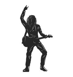 vintage monochrome rock musician silhouette vector image