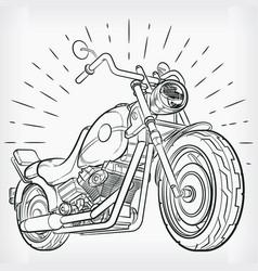 vintage motorcycle doodle chopper handdrawing vector image