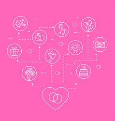 wedding and love linear icons vector image