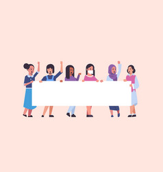 women protesters holding blank placard mix race vector image