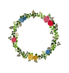 wreath decorated with roses and leaves isolated on vector image