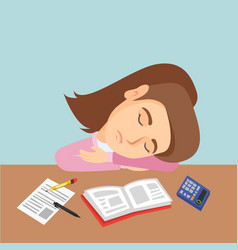 Young caucasian student sleeping on the desk vector