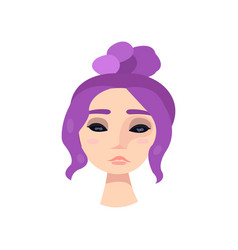 young girl with big black eyes and violet hair vector image