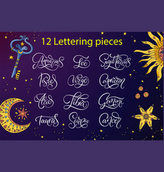 zodiac lettering sign vector image