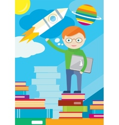 Boy with laptop in hand stands on books and shows vector