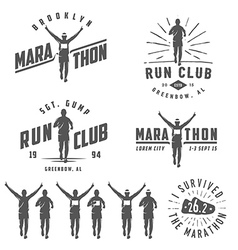 Set of run club labels emblems and design element vector image
