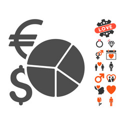 currency pie chart icon with love bonus vector image