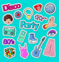 disco party vintage style stickers badges vector image