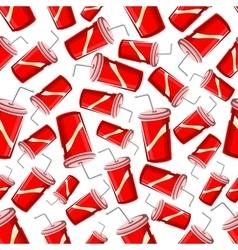 Fast food takeaway soda drinks seamless pattern vector