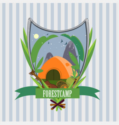 flat forest camp label template vector image vector image
