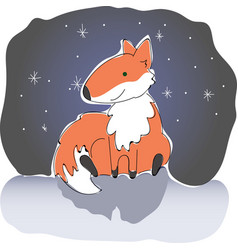 fox at night with snowflakes vector image