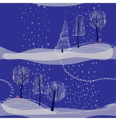 seamless winter background landscape with trees vector image