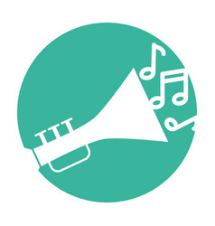 trumpet musical instrument with notes vector image vector image