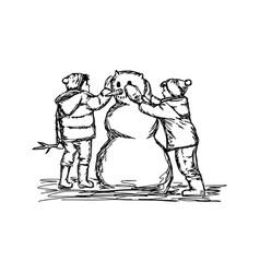 two boys building a snowman sketch vector image