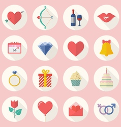 Valentines Day Flat Icon Set vector image vector image