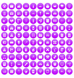100 company icons set purple vector