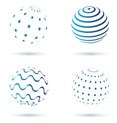 Abstract set of globe icons vector image vector image