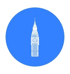 Big Ben icon in black style isolated on white vector image
