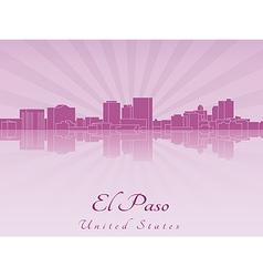 El Paso skyline in purple radiant orchid vector image vector image