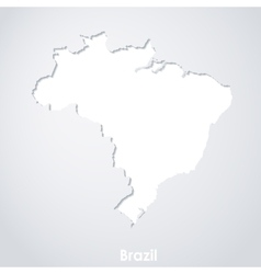Map of Brazil White paper silhouette with shadows vector image