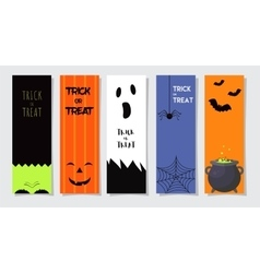 Set Of Happy Halloween Greeting Cards or Flyers vector image